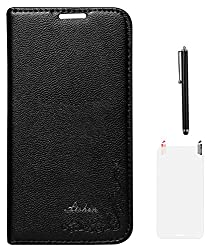 DMG LISHEN Premium Leather Flip Cover For Samsung Galaxy S5 G900 + Matte Screen + Stylus - Black