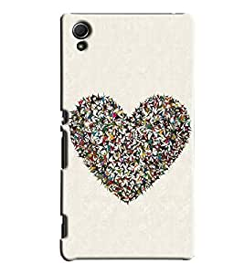 Blue Throat Paper Cutting Heart Printed Designer Back Cover/Case For Sony Xperia Z4
