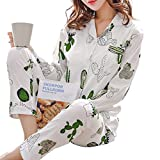 GWELL Women's Girls Cotton Cacti Sleepwear Ladies Pajama Set Cactus Cardigan Nightgown
