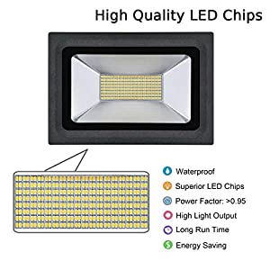 Lanktoo LED Floodlight 60W,Ultra Bright 220V Warm White 2700-3500K Waterproof Outdoor LED Flood Lights Security Lamps with 288pcs LEDS from Lankdeals