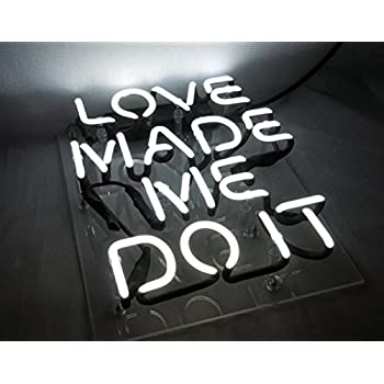 "Love Made Me Doit Cool Glass Neon sign Led Lamp Night Light Display Gift 8.7"" x 10.2"" for Home Decoration Beer Pub Hotel Beach Recreational Game Room"