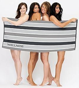Saunatuch 80x200 Strandlaken Baumwolle Frottee Wellness Streifen schwarz