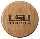 Totally Bamboo Round Salt Box with Lid, Laser Etched with Louisiana State University Logo