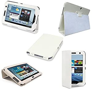 Etui Housse Luxe Cuir Blanc pour Samsung Galaxy Tab 2 7.0 P3110 + Stylet Gratuit