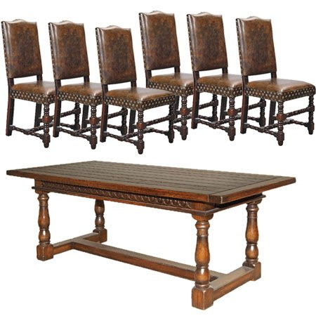 French country rustic dining table set with vintage leather from
