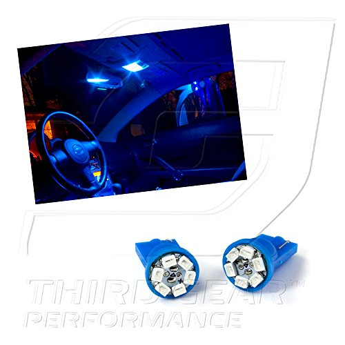 Tgp T10 Blue 6 Led Smd Wedge Map Light Bulbs Pair 1999-2009 Ford Mustang
