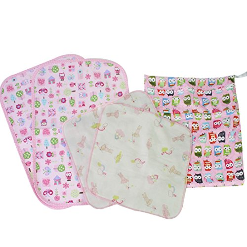 MyKazoe Baby Essentials Gift Set, Waterproof Wet Bag + 2 Waterproof Lap Pads + 2 Muslin Wipe Cloth - Set of 5 (Pink Owl)