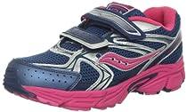 Saucony Girls Cohesion 6 Running Shoe (Big Kid),Navy/Pink/Silver,5 M US Big Kid