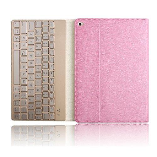 iPad Pro9.7専用Bluetoothキーボード付きケース Boriyuan ipad pro 9.7専用蚕糸の紋様キーボード付きケース 折り畳み 3層カバー 脱着式キーボードカバー Bluetooth3.0搭載 ワイヤレスキーボード 良質PUレザーケース キーボード 分離可能 耐衝撃 スタンド機能 付き 「ピンク」