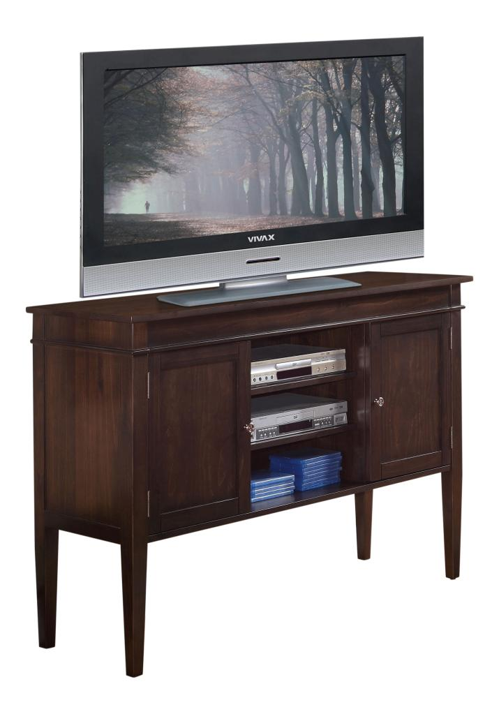 simpli home carlton tall tv media stand 54 w x 36 h dark tobacco brown. Black Bedroom Furniture Sets. Home Design Ideas