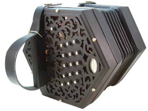 Clover Anglo Standard Concertina, Black, Professional Concertina Handmade in USA
