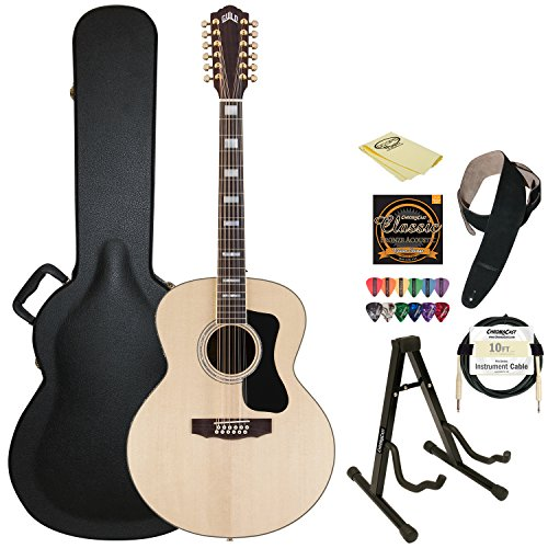 Guild F-1512E Natural Jumbo Acoustic Electric Guitar With Guild Hard Case, Chromacast Strings, Stand, Picks, Cable, Strap And Polish Cloth