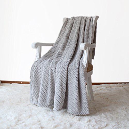 Simple&Opulence Solid Coral Jacquard Dot Velvet 50 X 60-Inches Throw Blanket, Grey