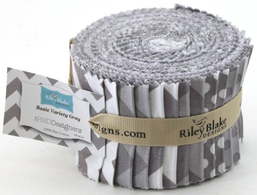 Riley Blake BASICS VARIETY GRAY Rolie Polie 24 2.5 inch Jelly Roll Strips Quilt Fabric RP-40-24