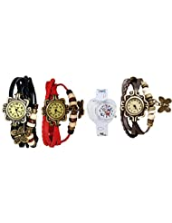 ANALOG KIDS WATCH WITH HELLO KITTY CARTOON PRINTED ON DIAL AND STRAP WITH 3 WOMEN BRACELET WATCH-SET OF 4 - B01BGGCEA0