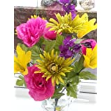 Yellow Carnival Mix Flower Bush Bouquet Artificial Flowers Or Plants