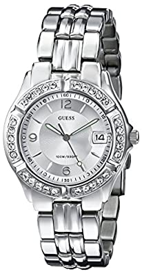 GUESS Women's G75511M Mid-Size Sporty Chic Silver-Tone Watch