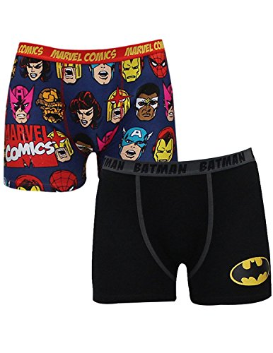 (Pack of 2) Mens BATMAN & MARVEL COMICS (SPIDERMAN) Finest Boxer Shorts XL Multicolor
