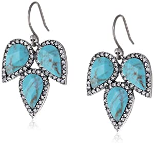 """Lucky Brand """"Winter Glimmer"""" Turquoise-Color Drop Earrings, 1.75"""""""