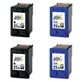 2x HP 21XL Black & 22XL Colour High Capacity Remanufactured Ink Cartridges (2x Sets) (More ink than HP 21 & 22 standard capacity) For Hewlett Packard Deskjet F370 F375 F380 F390 3920 3940 D1360 D1460 D1470 D1560 D2330 D2360 D2430 D2460 F2180 F2187 F2280