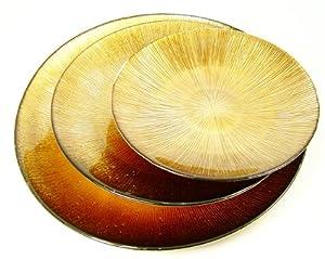 Dekoteller braun gold kupfer 21 cm aus glass kerzen teller obstschale k che - Dekoteller gold ...
