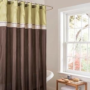 Lush Decor Terra Shower Curtain 72 By 72 Inch Green Brown Home Kitchen