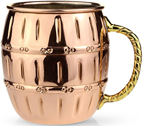 Circleware The Authentic Original Barrel Shaped Moscow Mule Copper Mug, 100% Pure Solid Copper Handcrafted Beer MUG / Drink Cup 16 Ounce, Nickel Lining with Brass Handle, Special Limited Edition