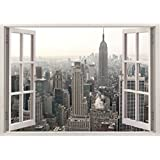 """Huge 3D Vinyl Wall Decal Sticker by Bomba-Deal, Window Frame Style High-Quality Home Décor Art Removable Wall Sticker, 33.5""""X 47"""" (New York City Urban CityScape View)"""