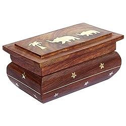 ITOS365 Handmade Wooden Jewellery Box for Women Jewel Organizer Elephant Tree