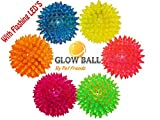 Glow Ball - Best spiny glowing dog ball on the market with crazy flashing LED lights. Soft and durable ball with bright colorful flashing light. Play fetch day or night.