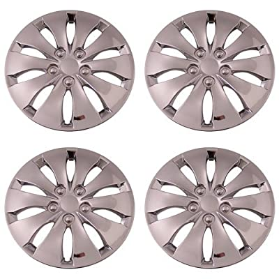 Set of 4 Chrome 16 Inch Aftermarket Replacement Hubcaps with Metal Clip Retention System - Part Number: IWC439/16C