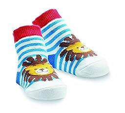 Mud Pie Baby-Boys Newborn Lion Sock, Blue, 0-12 Months