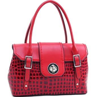 Designer Inspired Women's Patent Crocodile Fashion Satchel w/ Twist Lock Closure Red