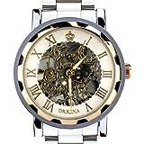 Orkina Mens Fashion Rose Gold Rim Tourbillon Dial Stainless Steel Strap Wrist Watch