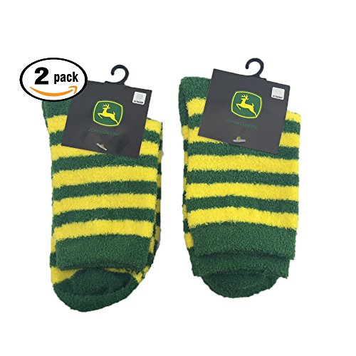 Pack of Two (2) pair John Deere Casual Striped Fuzzy Socks. Fits Women shoe sizes 4-10.