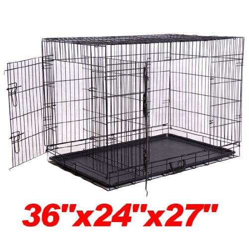 "Pawhut 36"" 2-Door Folding Wire Pet Dog Crate W/ Divider - 36""L X 24""W X 27""H front-49939"