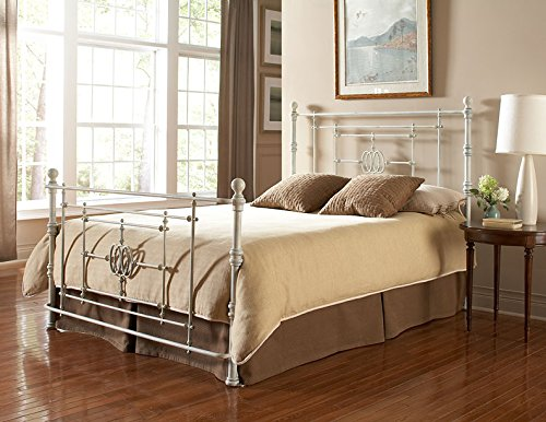 Fashion Bed Group B11146 Lafayette Complete Bed with Metal Duo Panels and Traditional Grill Castings, Distressed White Finish, King Size