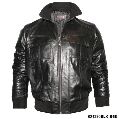 Mens Black Rib Neck Real Leather Bomber Jacket B4B Size XXXL-Triple Extra Large
