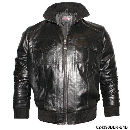 Mens Black Rib Neck Real Leather Bomber Jacket B4B Size XXXL-Triple Extra Large