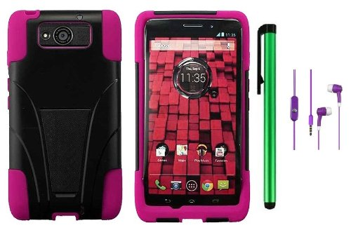 =>>  Motorola DROID ULTRA MAXX XT1080M / Motorola Obake (Verizon) Accessory - Premium Stand Protector Hard Cover Case + 3.5MM Stereo Earphones + 1 of New Metal Stylus Touch Screen Pen (Pink / Black)