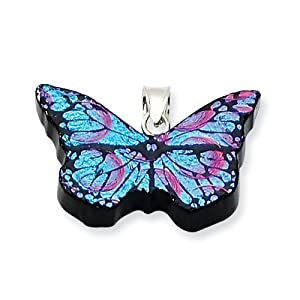 Sterling Silver Blue Dichroic Glass Butterfly Pendant - JewelryWeb
