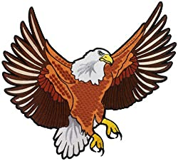 Bald Eagle Embroidered Patch Large Patriotic American Iron-On Emblem