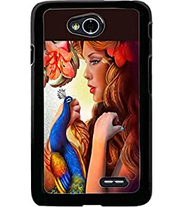 ColourCraft Beautiful Girl and Peacock Design Back Case Cover for LG L70