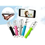 OKCSC(TM) New Fully Compatible Foldable Pocket Size Mini Selfie Stick Extendable Handheld Monopod Self Portrait Pole for IPhone IOS Android Smart Phone iPhone 6 6 Plus 5s 5c 5 4s 4 Samsung Galaxy S3 S4 S5 S6 Note 3 Great Promotions (grey wire)