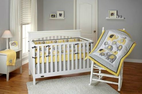 Little Bedding by NoJo Elephant Time 4-Piece Crib Bedding Set, Yellow. Limited Time On Sale image