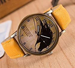Zeen - Fashion Retro Casual Dress leisure dress YLW Cowboy Jeans Leather Band Quartz Analogue Smart Watch + with extra cell