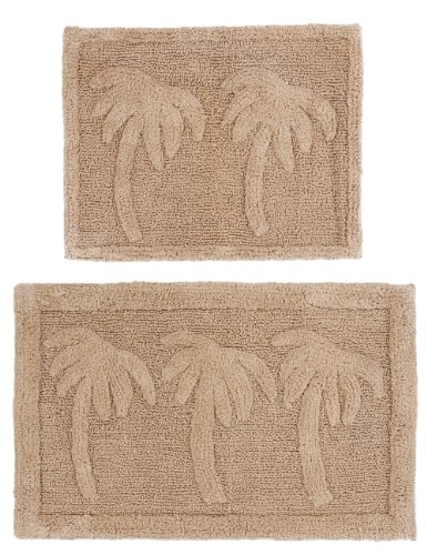 2 Piece Bath Rug Set - Palm Tree Linen by Cotton Craft - 100% Pure Cotton - High Quality - Super Soft and Plush - Hand Tufted Heavy Weight Durable Construction - Larger Rug is 21x32 Oblong and Second rug is Oblong 18x24 - Other Styles - Large Scroll, New