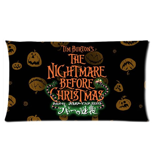 Generic The Nightmares Before Christmas Pumpkins Retro Design Cotton And Polyester Rectangle Standard Pillowcases Case 20 By 36 Inch front-907880