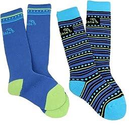 Bridgedale Kids Merino Ski (2 Pack) Socks, Blue/Lime, Medium