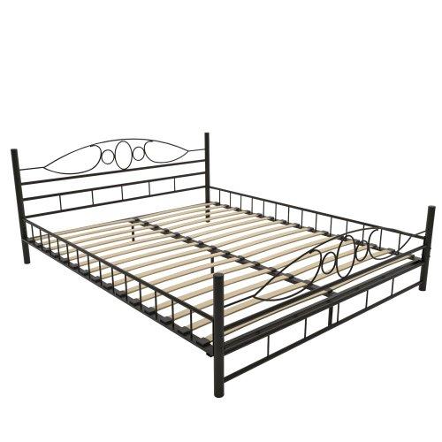 Cadres de lit jago lit mtbt02 2 en m tal noir avec lattes lignes c - Lit metal avec sommier ...